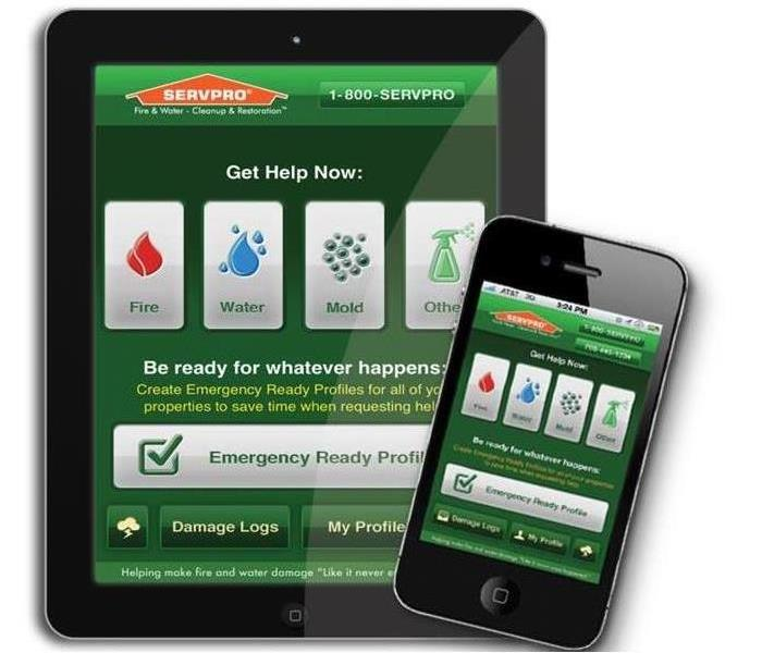 SERVPRO Emergency Ready Profile App being shown on an Ipad and phone